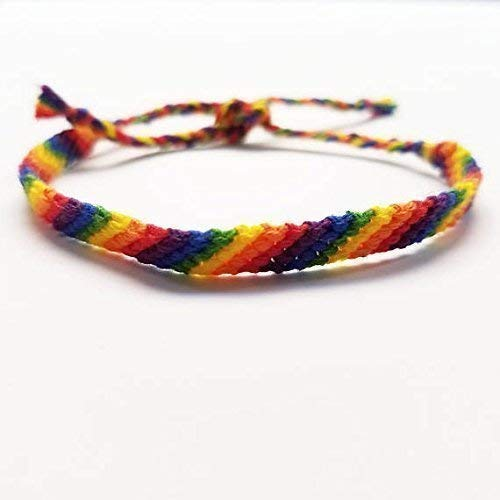 LGBTQ Gay Pride Hand Woven Rainbow Anklet or Bracelet