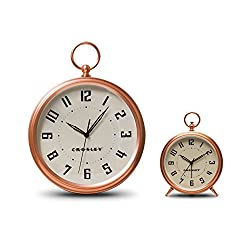 Timelink Crosley Deco Finial Alarm and Wall Clock Set, Rose Gold