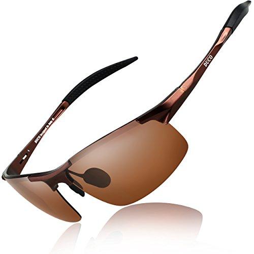 DUCO Herren Sportbrille Polarisierte Sonnenbrille Fahrerbrille 8177S (Braun, Braun)