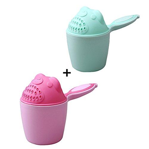 PFativant Baby Kinder Cartoon Dusche Becher Shampoo Löffel Haarspülbecher Badewannenspielzeug, Pink/Blau