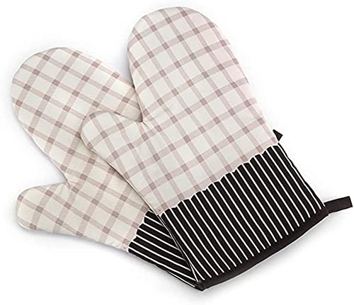 Rados 2 guantes de algodón resistentes al calor para barbacoa, para horno, cocina, horno, microondas, café (rejilla blanca)