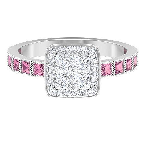 Anillo de turmalina rosa y diamante, 0,8 quilates, anillo de diamante de corte princesa, anillo grabado con cuentas de oro (calidad AAA), 14K Oro blanco, Size:EU 49