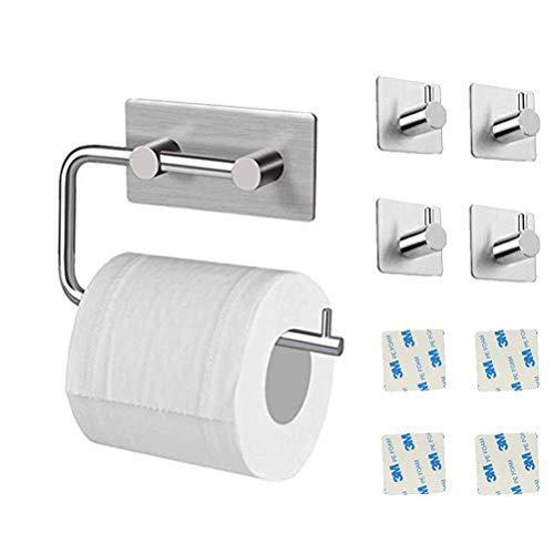 Toilettenpapierhalter Ohne Bohren - Selbstklebend Toilettenpapierrollenhalter, Edelstahl Klopapierhalter Wc Halter Rollenhalter Klorollenhalter Papierhalter (Toilet paper holder+4 Haken)