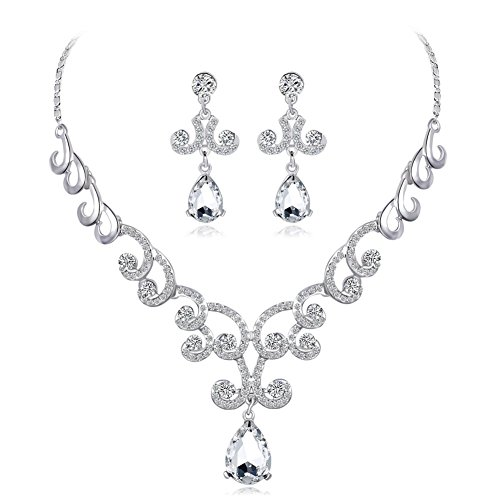 PULABO - Juego de pendientes para mujer, diseño de diamantes de imitación
