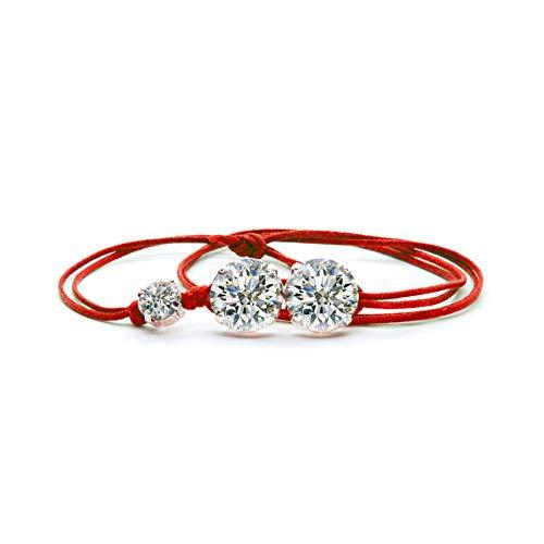 GioielliB ® Made in Italy Damen Armband mit Swarovski Kristallen, Kordel in verschiedenen Farben, elegant und modisch, Neuheit 2019 rot
