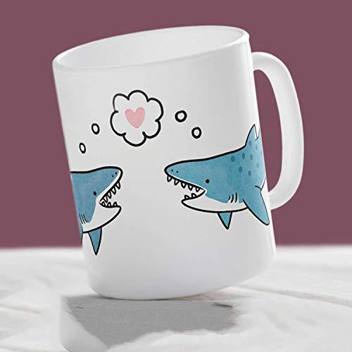 N\A You & rsquo; re Jawesome Mug Taza de tiburón Lindo Taza ilustrada a Mano Taza de Tiburones Taza de mandíbulas Taza de océano Taza de mar Taza de Friki Taza de Nerd Regalo de tiburón