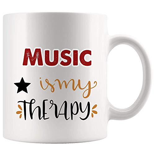 WTOMUG My Therapy Is Music Mug Coffee Cup Tea Mugs Gift - Happy Place Graduation Student Music Producer Songwriter Teacher Singer Director band Dancer Student School