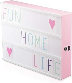 Half & Half 170 letras intercambiables iluminan su vida caja de luz cinematográfica 12 x 9 pulgadas (tamaño A4, blanco), plástico, Rosa, A4