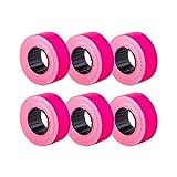 (6 rollos) Rosa 21 x 12 mm Etiqueta adhesiva de papel de color Precio Pistola Etiquetas de...