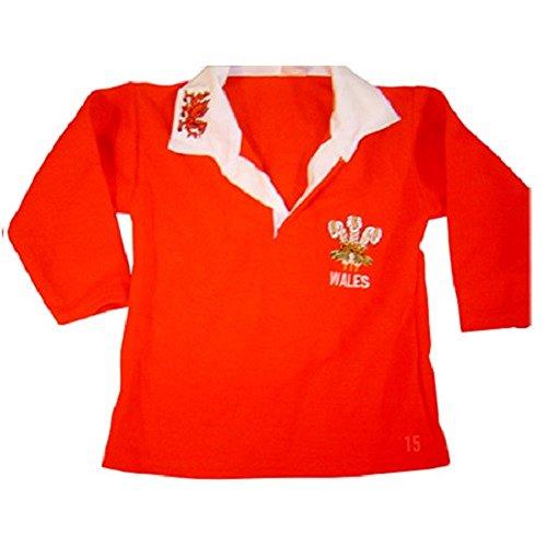 Rugby-Shirt Wales, unisex, langärmlig, für Erwachsene, Größen S, M, L, XL, XXL Gr. 12-13 Jahre, rot