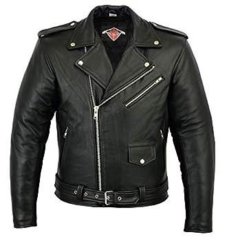 Veste pour Homme - Marlon Brando Style - Style Perfecto - Cuir de Vachette - Noir - 3XL
