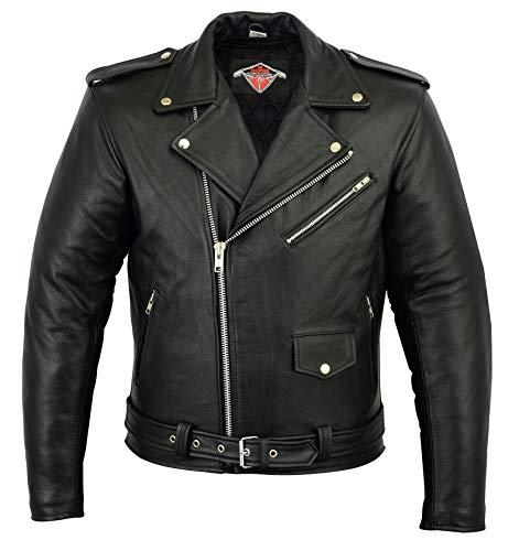 Herren Lederjacke im Marlon Brando Stil - Rindsleder - schwarz - Größe 4XL - Brustumfang 127cm
