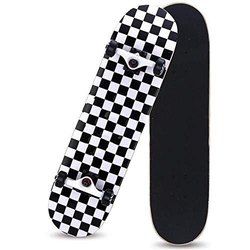 HUADUO Patineta Completa para Principiantes, Adolescentes, niños, niñas, 31 x 8 , Tabla de Skate con Maple Cruiser Pro Skateboards Longboards, Penny Skateboard.-Cuadrado Blanco y Negro