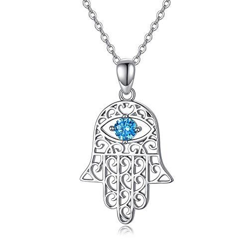 Halskette aus Sterlingsilber, Hand der Fatima, böser Blick mit Zirkonia, für Damen, Herren, Muttertagsgeschenk, 45,7 cm + 5,1 cm Silberkette