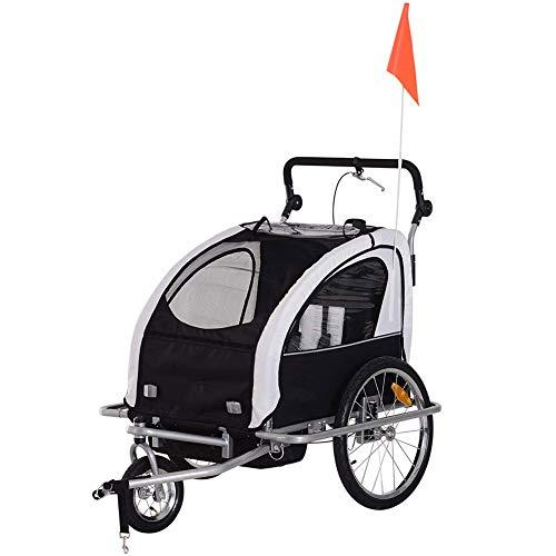 GT-LYD 2In1 Kinderanhänger Kinderfahrradanhänger,2-Sitziges Kinder-Kinderwagen-Jogger-Kit Mit Handbremse