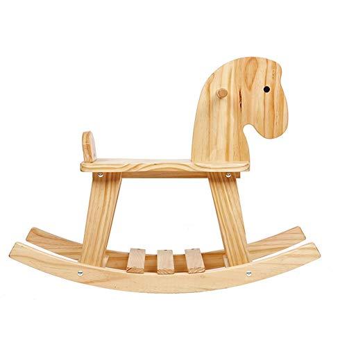 GOUO@ Cheval À Bascule pour Enfants en Bois De Pin Bébé Cheval en Bois pour Enfants Fauteuil À Bascule Chaise Jouet Assemblée Facile pour 2-4 Ans