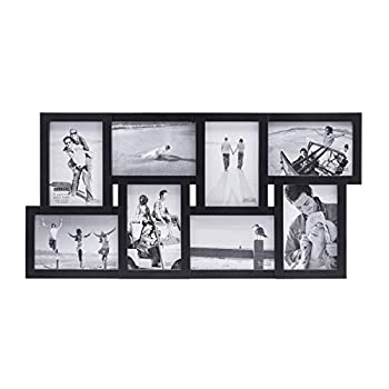 Malden 4x6 8-Opening Matted Collage Picture Frame Displays Eight Black