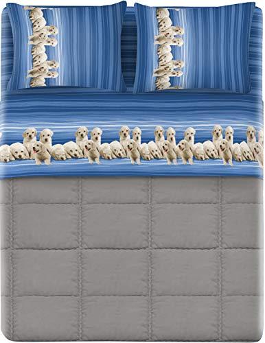 HomeLife Set Lenzuola Letto Matrimoniale Cotone Made in Italy   Completo 2 Piazze + Federe Stampa Labrador su Righe Blu   Lenzuolo Sopra 240x300 + Sotto con Angoli 180x200 + 2 Federe 52x82   2P