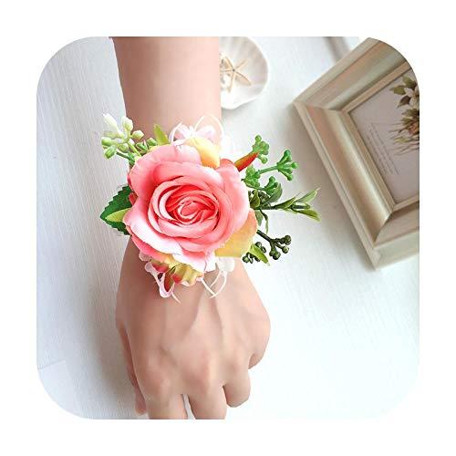 Art Flower Pulsera de boda con diseño de flores para dama de honor, para boda, ramillete de novio
