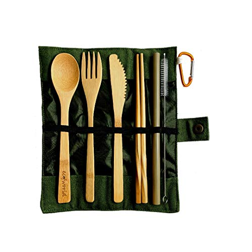 ECOFWORLD Bamboo Cutlery Set | Reusable Premium Wooden Utensils Flatware with Case for Kids & Adults | Bamboo Spoon, Fork, Knife, Brush, Chopsticks | Camping Travel Outdoor | Zero-Waste 7pcs