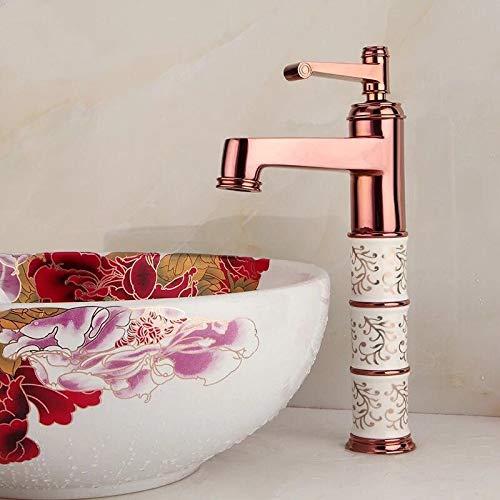 Grifos de lavabo YHSGY Fregadero De Baño Grifo De Lavabo De Latón Grifo De Cerámica Grifo Monomando De Cerámica Grifo Para Lavabo Montado Grifo Lavabo De Oro Rosa/Cromo Torneira