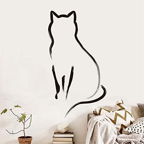 BailongXiao Katzenschirm Wandaufkleber für Kinderzimmer Dekoration einfache Linie Kunst Küche abnehmbare Aufkleber Schlafzimmer Aufkleber Home Dekoration