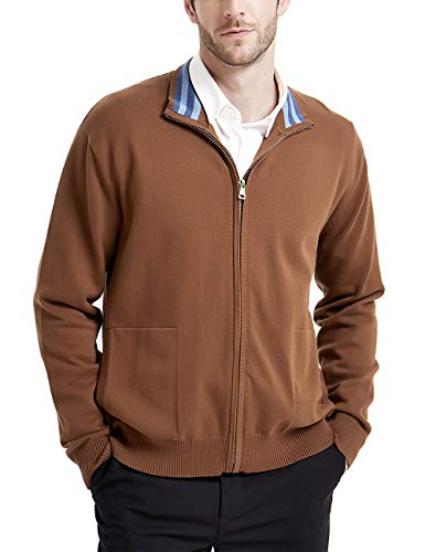 Kallspin Men's Relaxed Fit Solid Full Zip Cardigan Sweaters (Coffee, L)