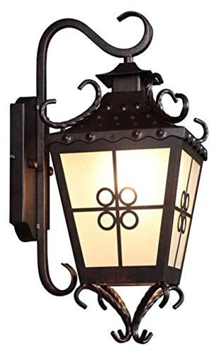 YYQIANG Lámpara de pared al aire libre E27 Balcón Pasillo Pasillo Luz de Pared Personalidad Vintage Impermeable Linterna Impermeable Linterna Impermeable Metal Villa Externa Patio Jardín Porch Muro Sc