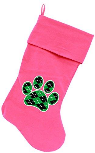 "Mirage Pet Products Argyle Paw Green Screen Print Velvet Christmas Stocking Black, 18"""