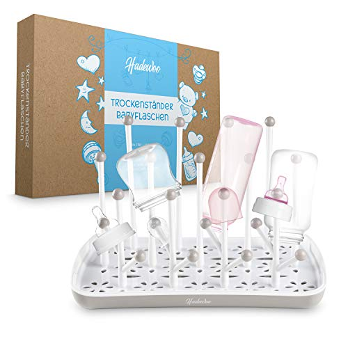 Hadewoo - Trockenständer für Babyflaschen - Abtropfgestell Babyflaschen - [31] x [19] x [5] cm – BPA frei - Spülmaschinenfest - Sicherheit für jede Babyflasche