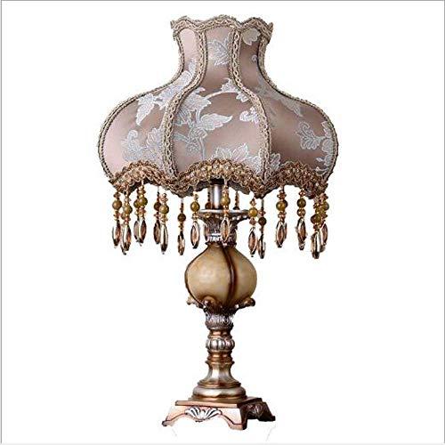 WSJTT Lámpara de escritorio Grado Europeo Dormitorio Lámpara Vida Lujosa Ambiente Cálido Retro Tela Lámpara Iluminación 33X55 Cm