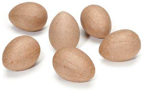 Darice 2821-09 6-Piece Paper Mache Eggs, 2.5-Inch