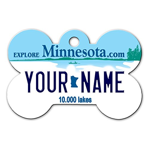 BleuReign(TM Personalized Custom Name Minnesota State License Plate Bone Shaped Metal Pet ID Tag with Contact Information