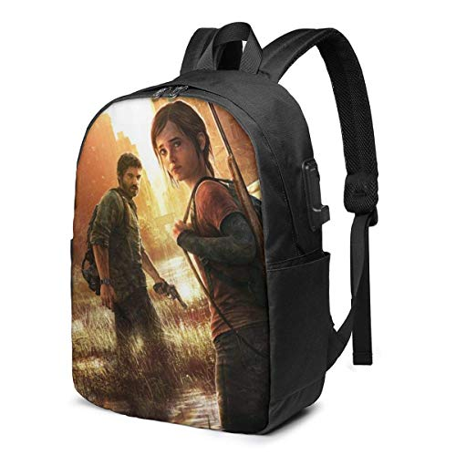 AOOEDM USB Backpack 17 in Last of Us Laptop Backpack- with USB Charging Port/Stylish Casual Waterproof Backpacks Fits Most 17/15.6 Inch Laptops and Tablets/for Work Travel School