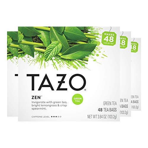 Tazo Green Tea Bags For an Invigorating Cup of Green Tea Zen Tea 48 Count, Pack of 4
