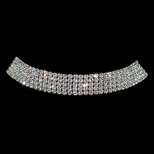 Dfgh Sparkling Silver Color Crystal Collar Chain Choker Ketting Bridal Vrouwen Wedding Party Diamante Rhinestone Choker Sieraden Kado (Metal Color : 5 rows)