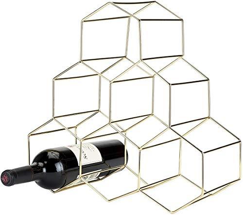 Mazu Homee Estante de metal para vino y armario de almacenamiento, puede acomodar 6 botellas de vino, estante para cannia, 36,2 cm, dorado