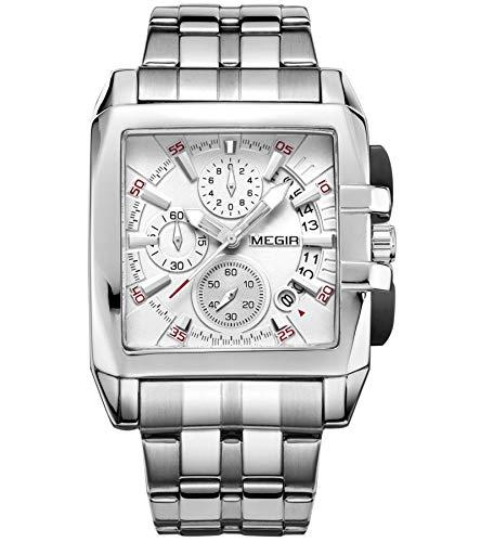 MEGIR Quadratische Herrenuhr Rechteckige Herren Chronograph Uhr Klassisches Leuchtende Quarz Mit Weiß Silber herrenuhr Edelstahl