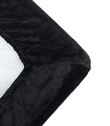 MALIKA® kuschelige Cashmere-Touch Spannbettlaken Bettlaken Jersey Fleece Spannbetttuch Bett Flauschiges Laken, Farbe:SCHWARZ, Größe:90x200-100x200 cm
