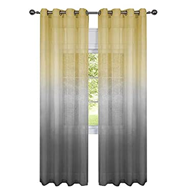 GoodGram 2 Pack Semi Sheer Ombre Chic Grommet Curtain Panels - Assorted Colors (Yellow/Grey Multi)