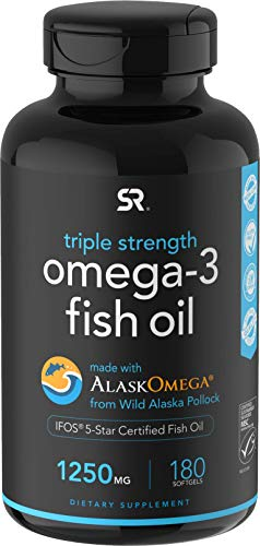 Omega3 Wild Alaskan Fish Oil 1250mg per Capsule with Triglyceride EPA amp DHA | Heart Brain amp Joint Support | IFOS 5 Star Certified NonGMO amp Gluten Free 180 Softgels