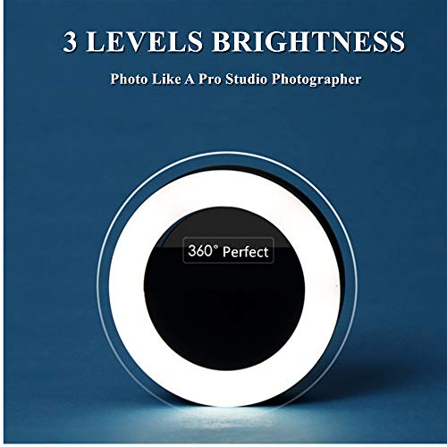 Selfie Ring Light,Portable Easy Clip 3 Levels of Brightness with Rechargeable (Battery) for iPhone,Samsung,iPad.Black …