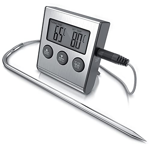 arendo - Termómetro digital de cocina con sonda - Monitorear la temperatura de -26° à 250°C - Alarma y temporizador - Acero inoxidable - Para parrilla, barbacoa, todos tipos de carne pescado bebidas