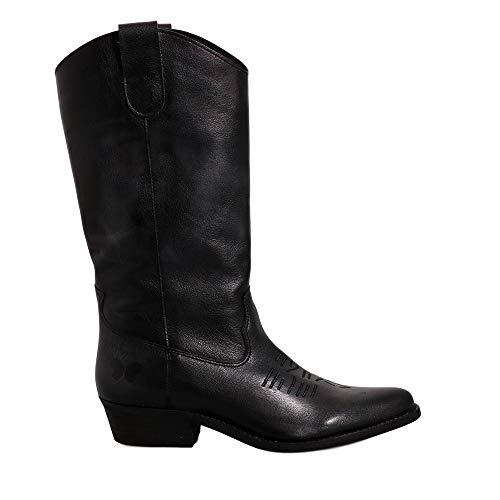 Felmini - Zapatos para Mujer - Enamorarse com Gerbera 7962 - Botas Cowboy & Biker - Cuero Genuino - Negro - 36 EU Size