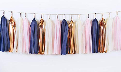 4Pack 20Pcs 14 inch Navy Pink Rose Gold Ivory Tassel Garland, Navy Pink Banner, Baby Shower, Bridal Shower, First Birthday, Photo Backdrop, Birthday Party Banner, Wedding Party Decorations