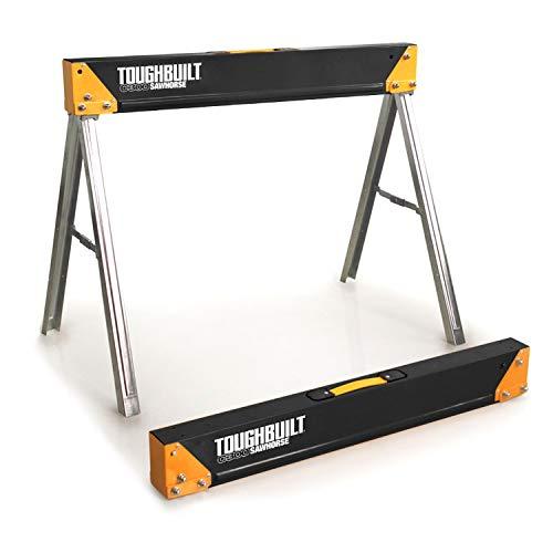 ToughBuilt - Folding Sawhorse/Jobsite Table - Sturdy, Durable, Lightweight, Heavy-Duty, 100% High Grade Steel, 1100lb Capacity, Easy Carry Handle - (TB-C300)