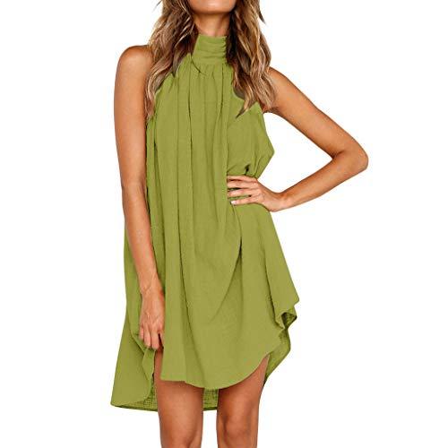 TWGONE Irregular Hem Dresses for Women Holiday Ladies Summer Beach Sleeveless Party Dress(XX-Large,Mint Green)