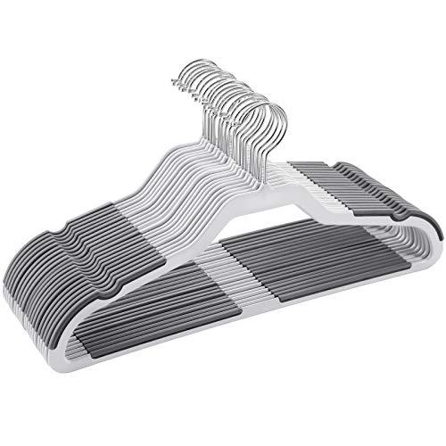 SONGMICS Kleiderbügel, 20 Stück Anzugbügel, Flache Bügel mit 360° Drehhaken, doppelter Anti-Rutsch-Schutz, hochbelastbar, für Anzüge, Shirts, Mäntel, Kleidung, grau CRP44G