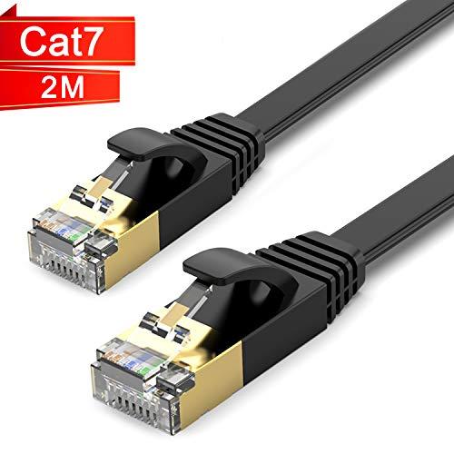 TBMax 2m Cat 7 Ethernet Kabel 10Gbit/s 600Mhz Gigabit Ethernet-Netzwerkkabel LAN Kabel Flaches Patchkabel mit RJ45 kompatibel mit Cat.6/Cat.5e/Cat5 für Router/Modem/Switch/PS4/Xbox Schwarz