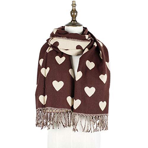 Sjaal Herfst En Winter Eenvoudige Casual Liefde Warme Sjaal Voor- En Achterkant Lange Baard Geborsteld Verdikte Slabbetje Sjaal Bruine Rijst